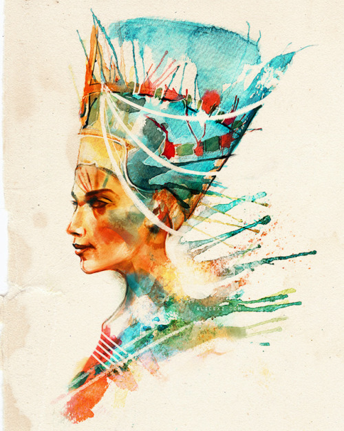 Nefertiti, Queen of Egypt, Royal Badass (and Partner-in-Crime of John Riddell.) Please vote a '5' for this design on Threadless if you'd like it on a shirt! :)