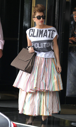 Lady Gaga at Vivienne Westwood fashion show; London, UK To honour legendary British designer Vivienne Westwood Lady Gaga wore statement t-shirt saying Climate Revolution.