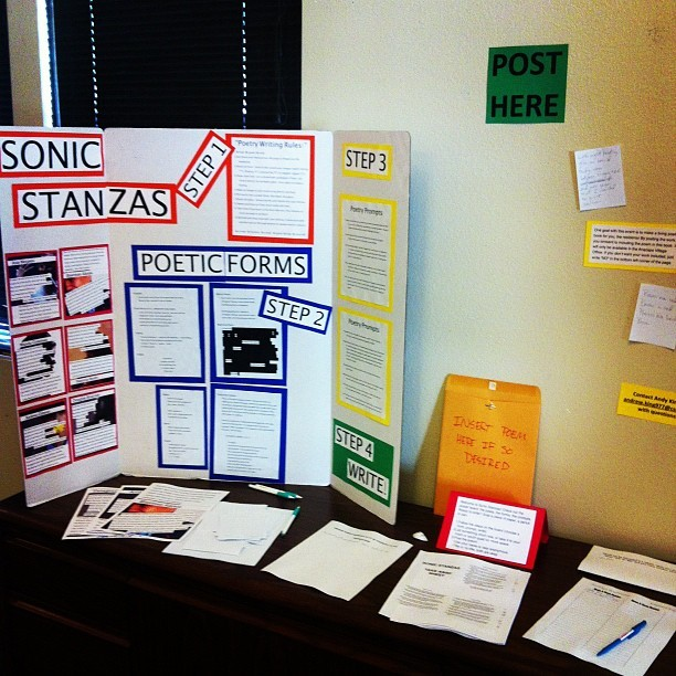 "Check out ""Sonic Stanzas"" in the Anacapa Village Office! Get some prompts and a place to share your poems, jot a line or two down in the group poem, and learn about some awesome performance poets! At the end of the week, all the writing will be collected and compiled into a book available in the office that people can continue to add to throughout the year. #poetry #reslife #csuci  (Taken with Instagram at Anacapa Village - CSUCI)"