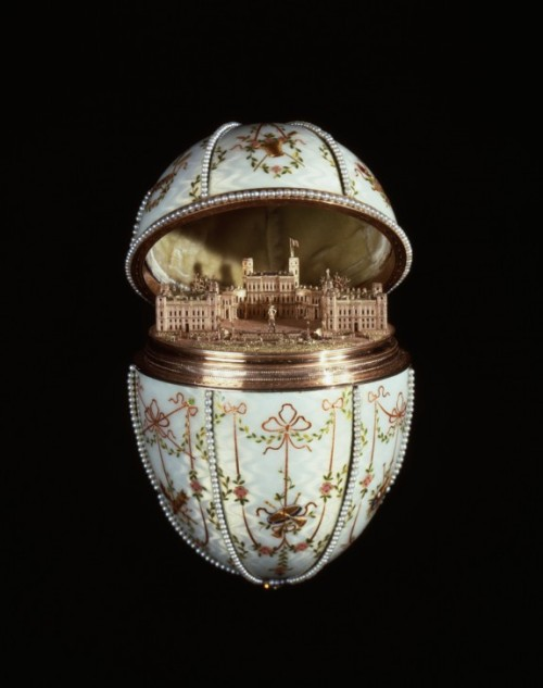 "collective-history:  Gatchina Palace Egg Fabergé's revival of 18th-century enameling techniques, including the application of multiple layers of translucent enamel over ""guilloché,"" or mechanically engraved gold, is demonstrated in the shell of the egg. When opened, the egg reveals a miniature replica of the Gatchina Palace, the Dowager Empress's principal residence outside St. Petersburg. Tsar Nicholas II presented this egg to his mother, the dowager empress Marie Fedorovna, on Easter 1901.  House of Faberge"