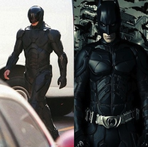 Is everyone saying that the new RoboCop design looks like Batman because they're both black? He doesn't have pointy ears…?
