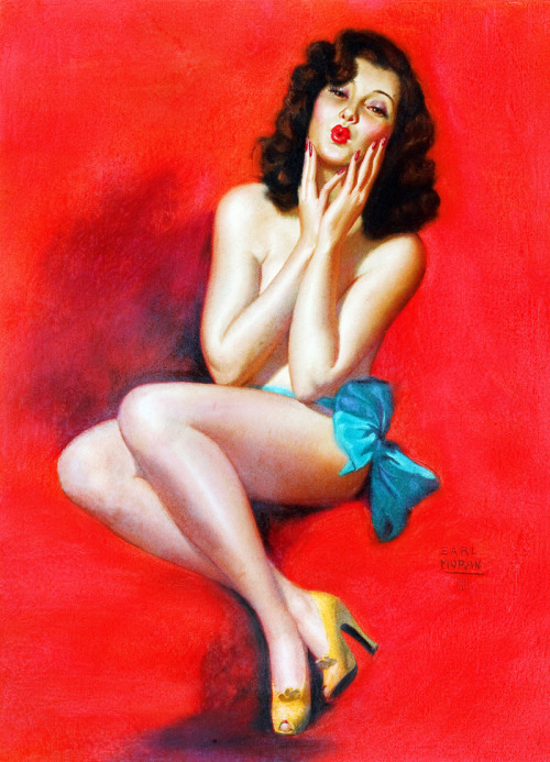 "vintagegal:  ""See, I Can Imitate Birds, Too"" by Earl Moran c. 1947"