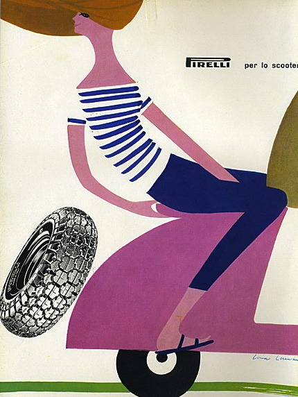 hollyhocksandtulips:  Pirelli scooter, 1959 Illustration by Lora Lamm