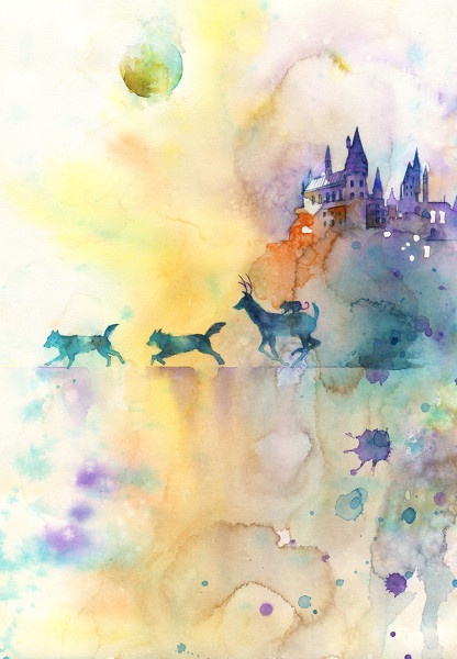 Peach pops in for a second to show you this FABULOUS HP watercolor. What are YOU doing this full moon?