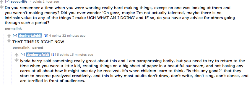 "mikekarnell:  Don Hertzfeldt is doing an AMA right now. I agree with his answer but would add that that ""time"" is all of the time every day forever."