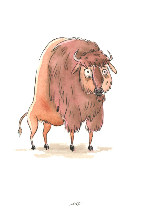 a quick ink and paint bison buddy