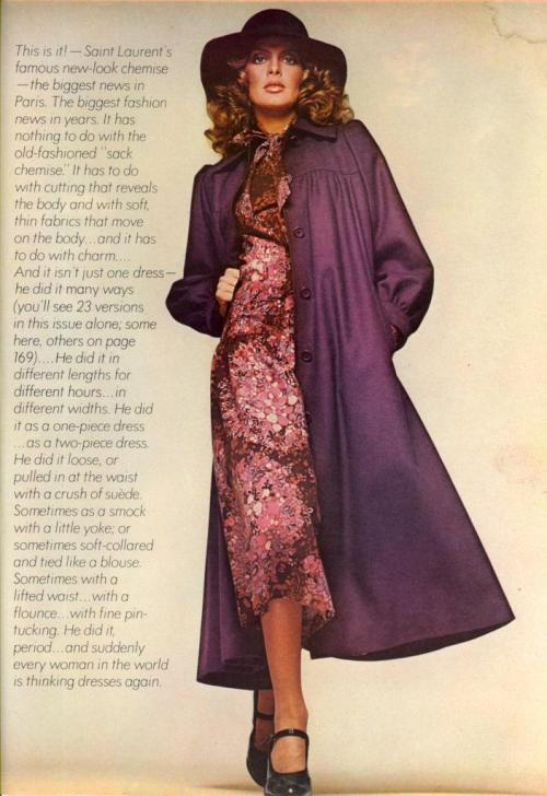 "Vogue US October 1974 ""Out Of Couture"" Model: Rene Russo ph: Francesco Scavullo"