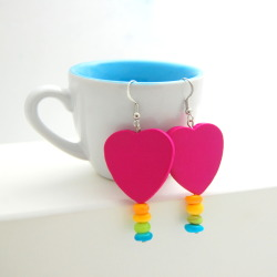 Pink Heart Earrings with Rainbow Shell Beads