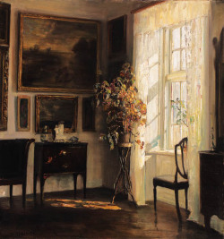 poboh:  A sunlit interior, Carl Vilhelm Holsøe. Danish (1863 - 1935)