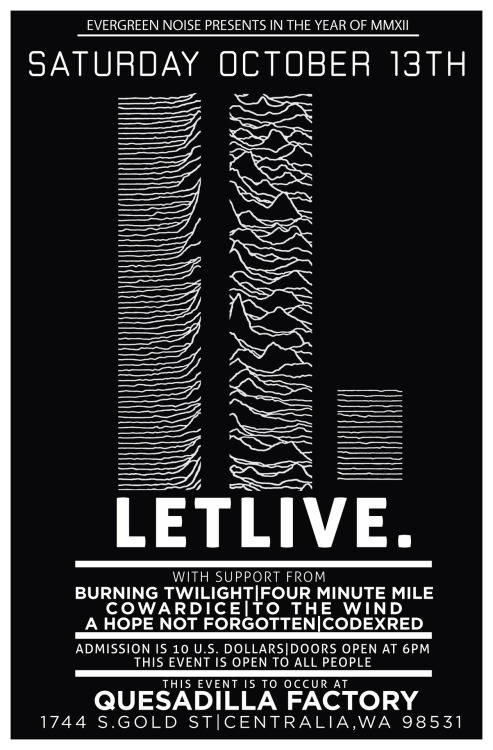 jesusonthego:  final line up. letlive. burning twilight four minute mile cowardice to the wind a hope not forgotten codexred