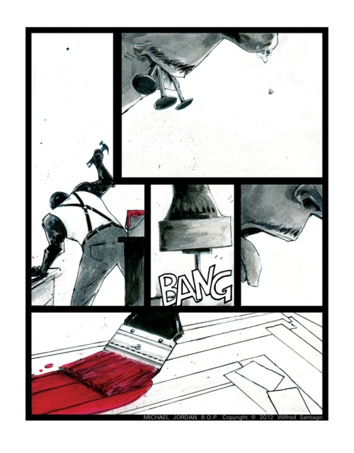 Page 32 from Wilfred Santiago's in-progress comics bio Michael Jordan: Bull on Parade.