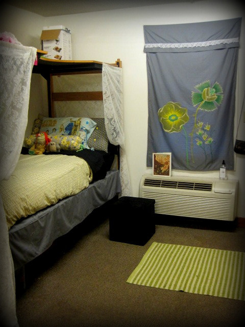 "My ""bedroom"" section of my dorm room. you should recognize the curtain from a previous post (painted by me) and I added the lace trim to tie in my new drapes around the bed. (lofting the desk allows for addition storage above) and I'm a about to post a photo tour of my whole room!"