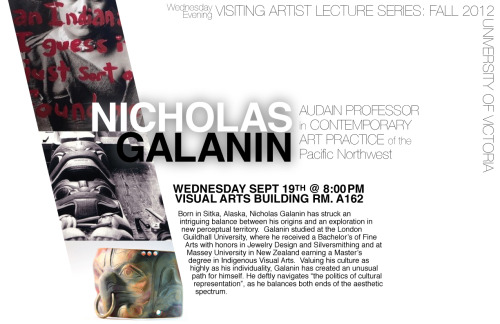 Please join me on Sept. 19th at 8pm.  I will be giving an artist talk at the University of Victoria