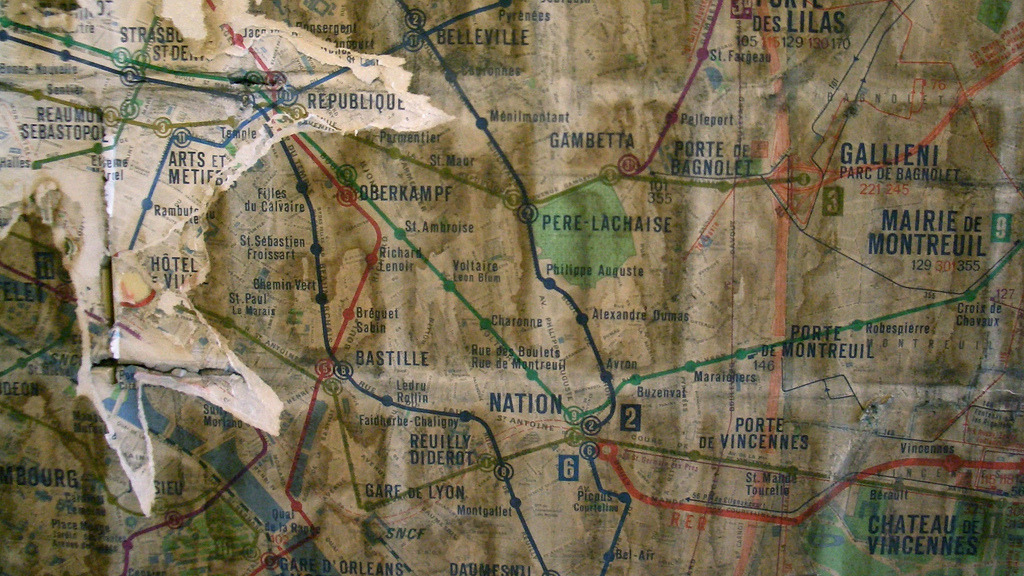 "Old Paris Metro Map (Detail) This is simply gorgeous. The fact that the RER terminates at Nation dates this map from between 1969 (when the RATP first purchased the line from the SNCF) and 1977 (when the line was extended through Paris and became the RER ""A"" line we know today). The original post on Flickr does not note where this map is (or was) located. (Source: lionelofparis)"