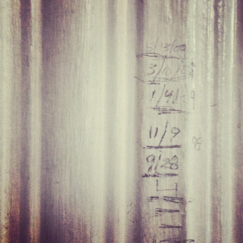 "TIME IS HARD  These are the height markings on my daughter's bedroom wall.  They are hard to see because one day she took a pencil and extended them up and down the wall as far as she could reach.  So now they are like this:   ______ __ ____ __ __________ 3/13/09 1/4/09 11/9/08 9/28 ____ _______ ___ ___ 5/13 ______  Real lines, mixed up with fake ones.  But after all, it's her room.  Or it was.  In a few weeks we are moving to a new apartment and leaving this one we've lived in for six years behind.  We moved in when she was ten months old from a one bedroom with her crib at the base of our bed.  It's really the only apartment she's ever known.  So far she seems very blasé about it, maybe even excited (she's been promised a pink room).  And we're only moving four blocks away, after all.  But it's throwing me for a loop.  There's something jarring about having someone grow up from a little baby into a tiny person in a place.  Many of the objects are the same, but she's grown up around them.  I can look at pictures of her in the same couch, in the same room, in the same place and she's a baby.  And now she's six.  I have video of her learning to walk in our living room, then fumbling down the hallway.  I have pictures of her standing on a stool, red-faced from a hot summer day, holding an ear of corn, diaper-clad.  That's the same kitchen she stands in today, asking for ""a snack"" before breakfast.  But in a few weeks, we move on to a new kitchen, a new living room.  Our yardstick, our apartment changes.    ___ 10/13 9/13 ______  TIME IS HARD.  I moved in with my wife (then girlfriend) right after September 11th, 2001; our new lease had started, but we were painting.  From our new bedroom window, we could see the towers and then, when we moved in, they were gone.    