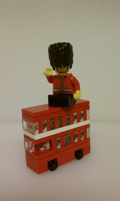 Guard and Bus by Tervlon on Flickr.Great microscale red double decker bus with a Royal Guard fig by Jaron.