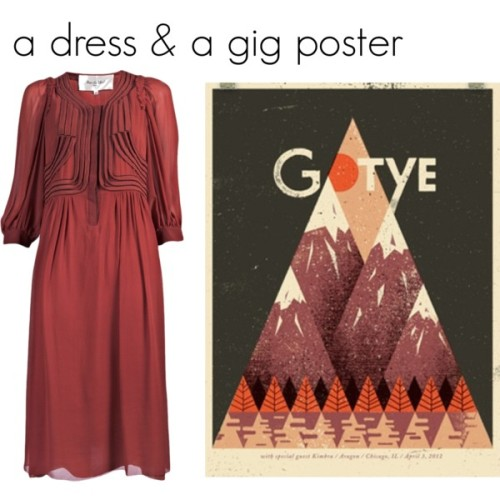 dress by Rue Du Mail, poster by Doe-Eyed