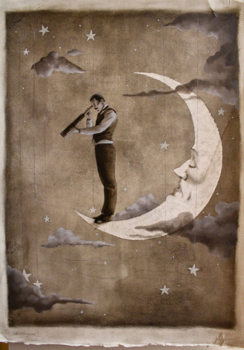 """The Astronomer"" 19.5""x20.5"" oil on gessoed watercolor paper. By Shannon Stamey on Etsy, 2012. Via felixinclusis and octoberillustrations."
