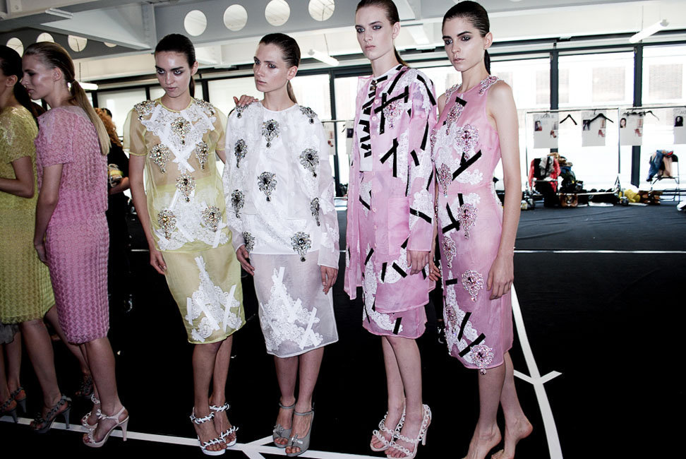 oystermag:  London Fashion Week Backstage: Christopher Kane