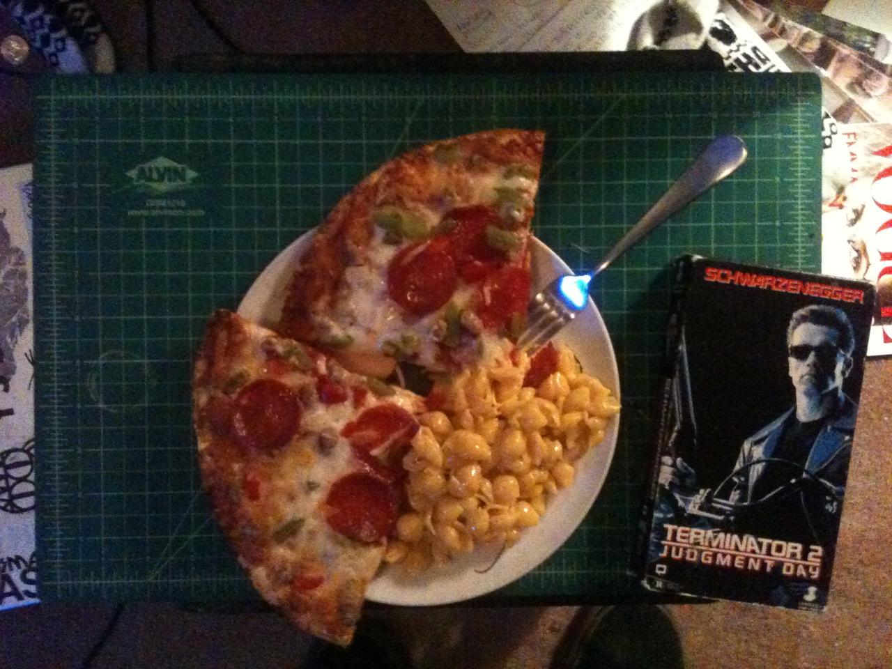 Pizza & velveeta + terminator 2 on VHS = how I'm spending my Monday night.