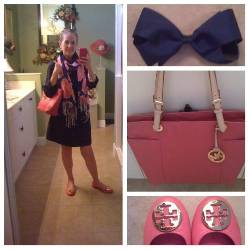 OOTD:  Navy & pink.  #tommyhilfigershirtdress ##lillypulitzerscarf #orchidpinkrevas #perfectpinkmichaelkorstote #bowmania #pearls #whatiwore #mademymondaycute #transitionwardrobe  (Taken with Instagram)