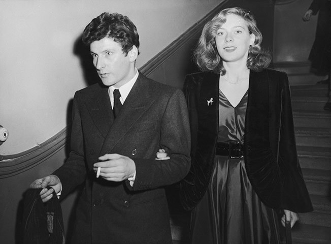 Lucian Freud and Lady Caroline Blackwood leaving Chelsea registry office after their wedding, December 9, 1953.