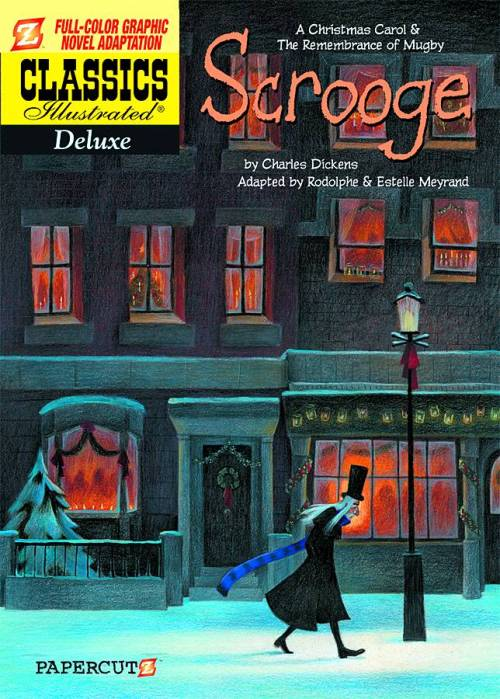 "Market Tuesday Classics Illustrated Deluxe: Scrooge GN, co-adapted by Estelle Meyrand  Two Christmas classics in a gorgeous graphic novel retelling! You may know the Ghosts of Christmas Past, Present, and Future from Charles Dickens's beloved tale, A Christmas Carol, but did you know this is not his only ghost story? This edition of Classics Illustrated Deluxe presents ""A Christmas Carol"" together with another Dickens treasure, ""Mugby Junction,"" which also features elements of the supernatural and a protagonist to whom his future is revealed."