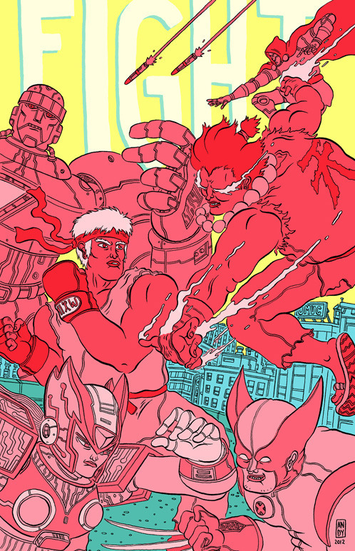 "HEY! ""Fight!"", our fighting game zine is finally available to buy! We debuted at SPX (which was amazing) and it's now up in our store! You might love it! It's got art from Andy K., Tradd Moore, Lamar Abrams, Brooke Allen, Coleman Engle, Dustin Harbin, Kendall Goode, Paulina Ganucheau, John McNamee, Nick Liappis, Jimmy G, Jeremy Sorese…basically it's awesome! It's $5 PPD (free shipping!)"
