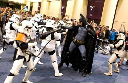 Batman vs. a battalion of storm troopers….hmmm…