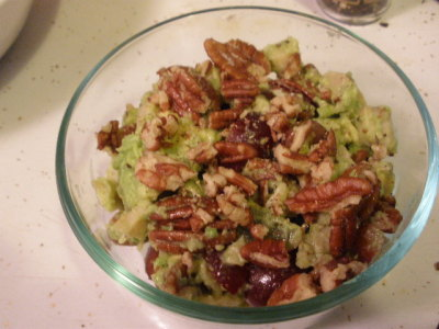 Avocado Sonoma Chicken Salad - taken from YourHealthista. Very yummy and filling! Though, I forgot to add in the celery when I bought some just for this recipe. Other differences - I cheated and bought pecans that were already roasted.