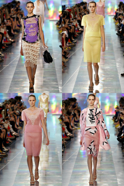 journaldelamode:    London Fashion Week SS 2013, Christopher Kane show Models: Karlina Caune, Erjona Ala, Renee Germaine van Seggern, Ashleigh Good