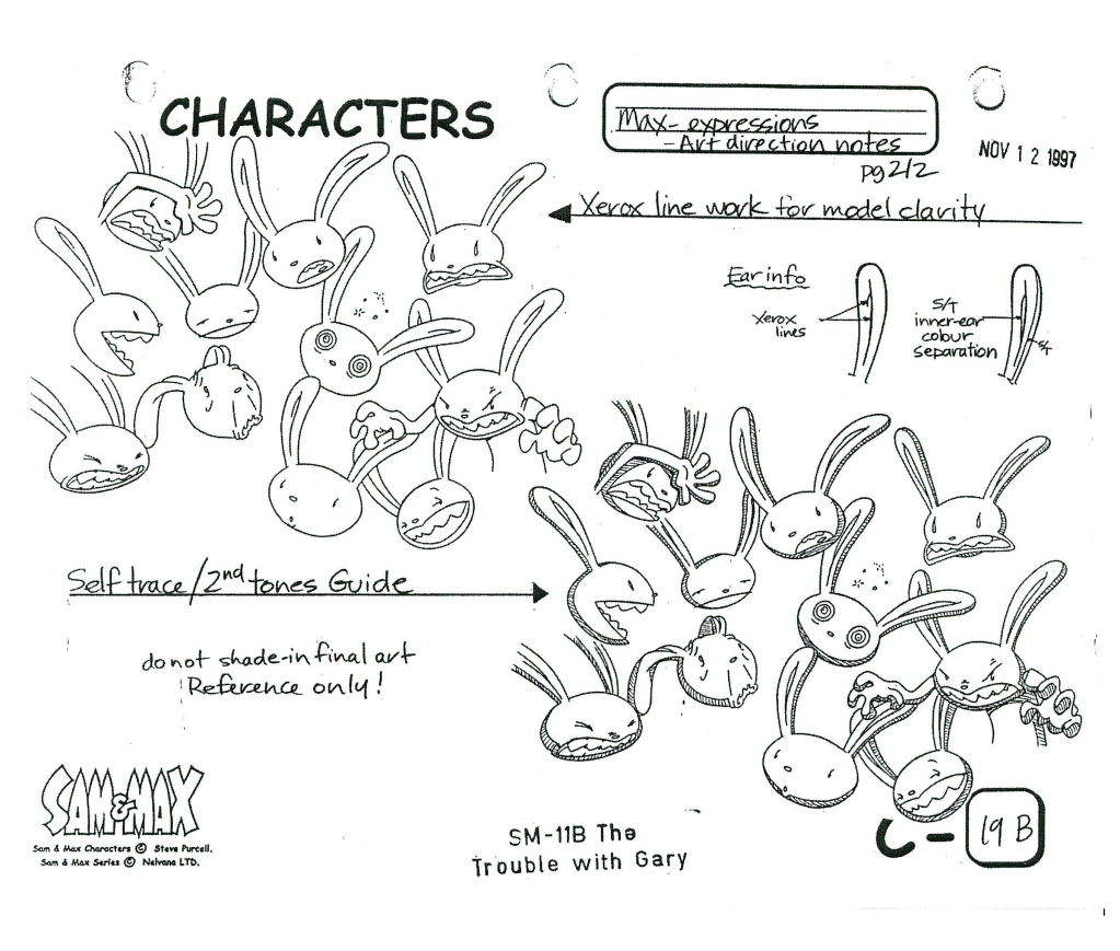 animationart:  Sam and Max: Freelance Police animation references by Steve Purcell (C) 1997