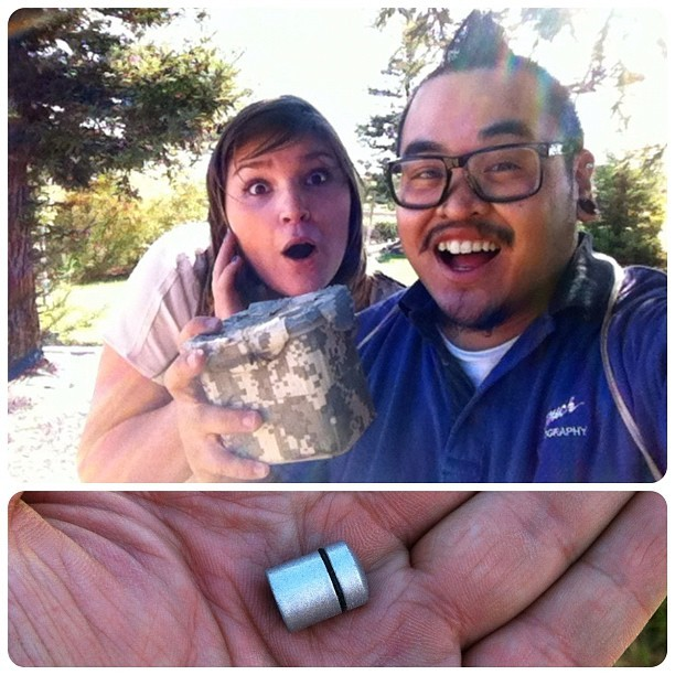 artificiallife:  Two for two after work with another geocaching newbie. The second cache was as big as my thumbnail. #geocaching #geocache (Taken with Instagram)  I found a nano just like that on my break today! :)