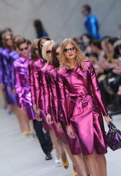Burberry Prorsum's Spring/Summer 2013 collection - Metallics, Kaleidoscopic gradients of colour all combined with classic silhouettes we know and love from Burberry- Oh so different and exciting for Burberry but very much the same signature style. Christopher Bailey proved that bright metallics CAN be classy and clean cut. Image from here