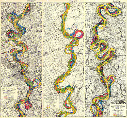 urbanterior:  Early stream channels of the Mississippi, geologically charted by the Army Corps of Engineers, via bldgblog