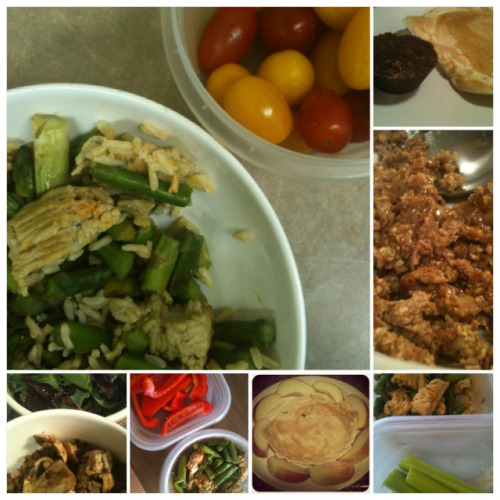 MY CLEAN EATS: Monday, September 17th, 2012 pancakes, CleanNutCup pancakes, apple asparagus, ground turkey, bell pepper asparagus, ground turkey, brown rice, grape tomatoes asparagus, mushrooms, onions, ground turkey, celery Ezekiel cereal, almond butter mixed greens salad with fig vinegar, ground turkey, mushrooms I am still drinking my coffee black and I am feeling more confident that I can drink my coffee black every day aside from the times I want a special treat like a non-fat coffee misto. Considering the sugar and salt I had at my guilt-free dinner on Friday night I don't have a single craving - success! Every day I have been sticking to a strict schedule of clean eats, water consumption, sleep, and exercise. Getting back in your groove takes practice and it just proves that healthy habits are literally just habits so you if you want them if your life then you need to start practising. No excuses! WOD: 15 minutes cardio + LEGS »> Everything hurts! Especially my glutes!!!