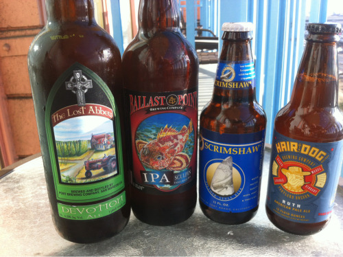 here's the haul (left to right):  - lost abbey devotion ale  - ballast point sculpin ipa  - north coast scrimshaw pilsner  - hair of the dog ruth apa