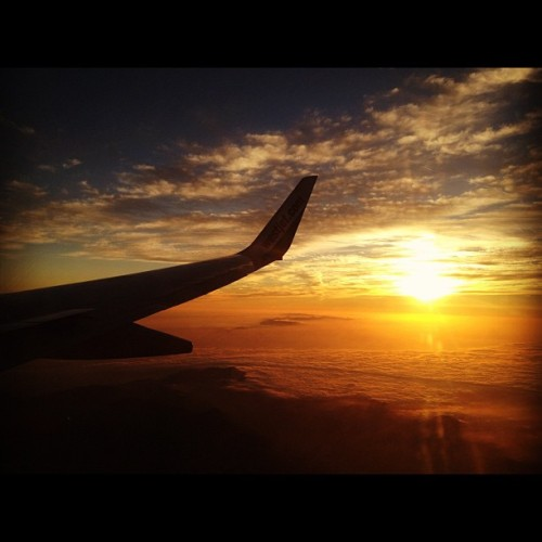 The flight home #Sunset #WestJet #somewhereoverthevalley (Taken with Instagram)