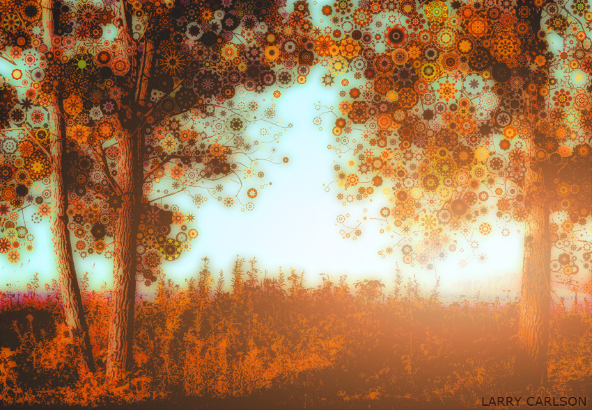 LARRY CARLSON, Apple Magic Trees Sparkle by the Lake, digital photography, 2012.