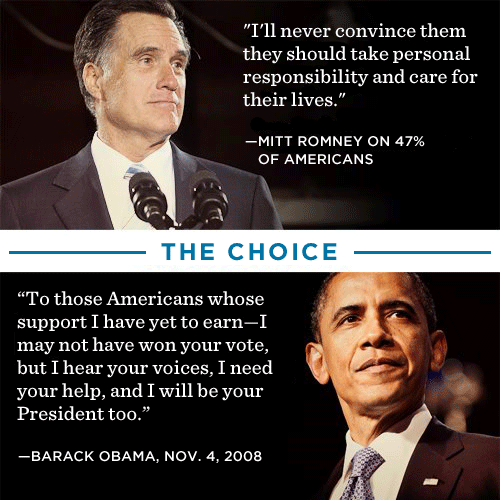 "barackobama:  Don't boo—vote.  The preceding line to Romney's quote is ""[M]y job is is not to worry about those people.""  While I think in the narrow sense of this statement, Romney simply meant that his campaign is focusing on swing voters to win the election, rather than trying to win over Obama supporters.  And that makes total sense.  But while Romney the campaigner doesn't particularly need to worry about those people, Romney the president does; and the following sentence, presented in this image, is revealing and genuinely startling."