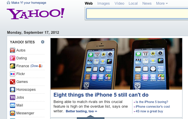 parislemon:  seldo:  Unless you're a former Yahoo like me, nothing about this screenshot will jump out at you — but the little ® next to the logo, a long-standing symbol of pointless, unthinking corporateness, is gone from the Yahoo home page. It's such a little thing, but getting the little things right is important. Maybe Marisa Mayer really can turn things around over there. (They're even pulling them off the walls)  Subtle, but nice move.  Nice catch. Sends the right signals. Can't wait to see her turn this around.