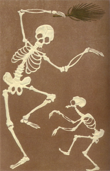hollyhocksandtulips:  Dancing skeletons  Japanese post card, 1890s-1900s