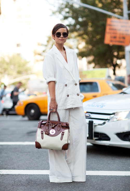 Miroslava carrying an amazing Ralph Lauren bag during NYFW