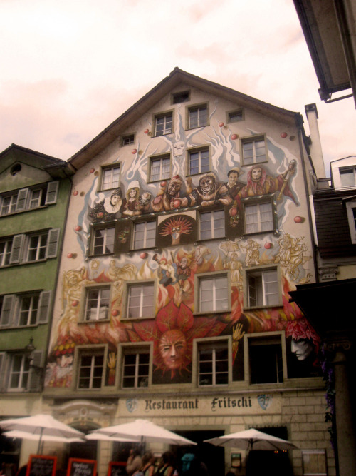 © own Lucerne, Switzerland There were murals painted all over the buildings in the older part of the city
