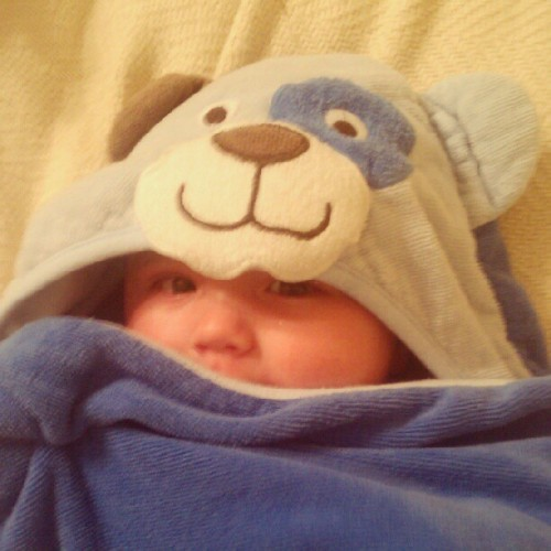After his bath. I don't know if that's a bear or a puppy lol. #towel #bear #blue #puppy #baby #Jered #bath #instalike #instahub #instagood  (Taken with Instagram)