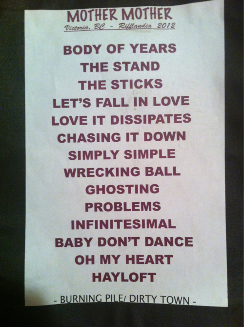 Setlist from Rifflandia. Thanks Emmet!