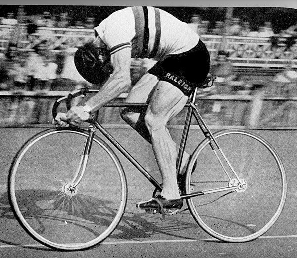Reg Harris (1920-1992) was Britain's greatest track cyclist in the 1940s and 1950s, winning many titles — including one at 54 years old. Some serious legs on that bloke.