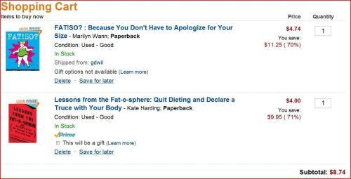Thanks for the recommendations, folks. I bought two books that seem like good options to foist upon my mom to try and force her to understand a little about fat politics. I would be satisfied with her understanding that I'm not the only one who thinks of things this way. The best part is I just traded in a couple of books and got a gift card so these two only cost me $0.90!