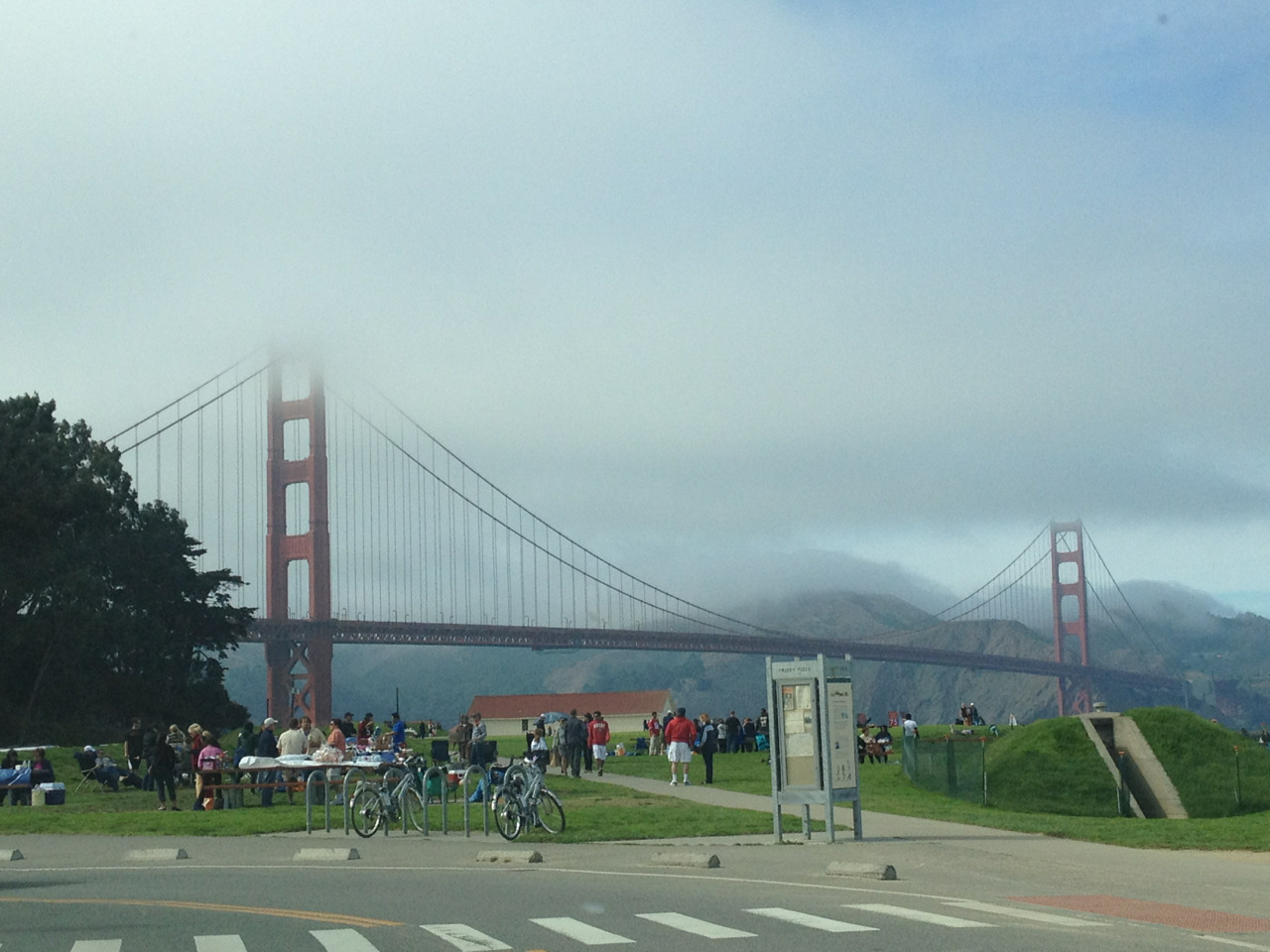 Beautiful day in Sf yesterday except Golden gate bridge was the only part of the city covered in so much fog.