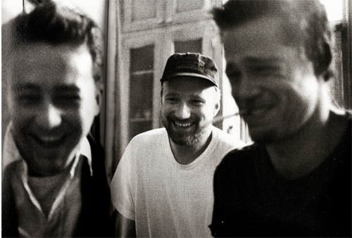 from left to right Edward Norton, David Fincher, Brad Pitt
